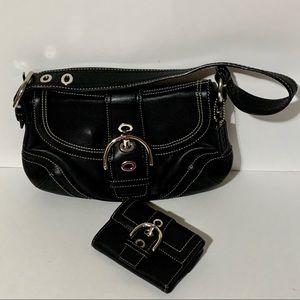Authentic Leather Coach bag & wallet set